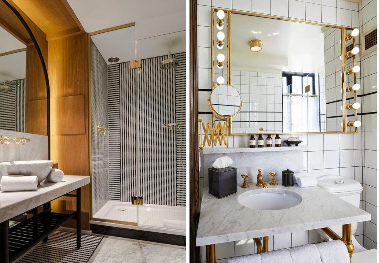 Luksus badeværelser med marmor, messing og art deco