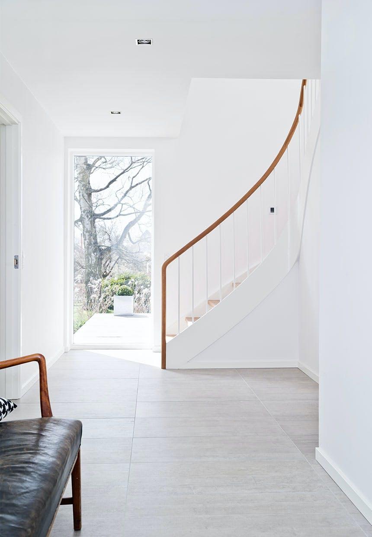 Egetræ på trappen og ovenlys