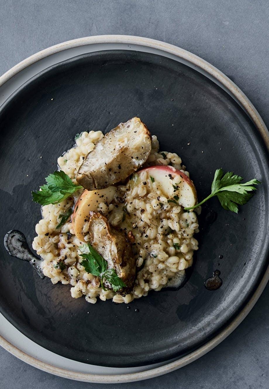 Cremet risotto med jordskokker og vesterhavsost