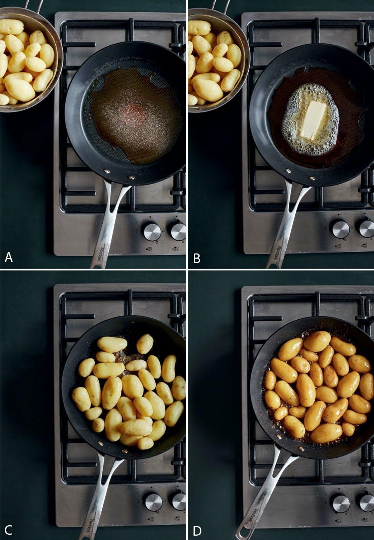 Opskrift på brune kartofler