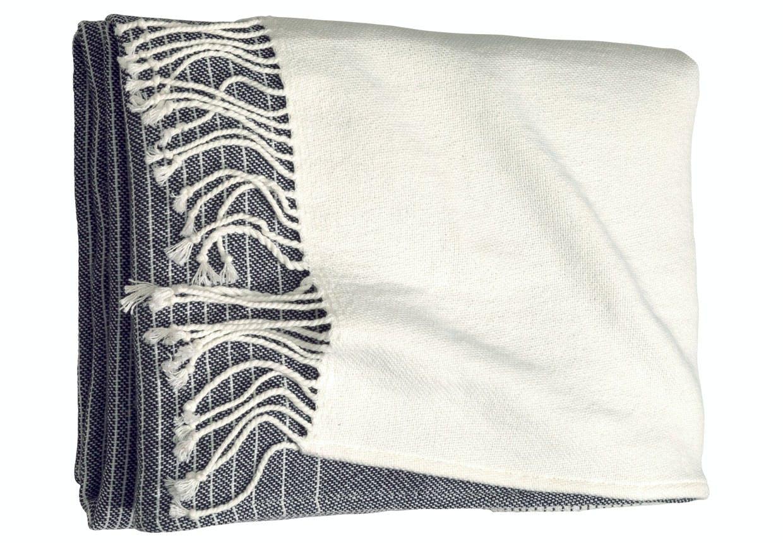 Sort-hvid stribet bomuldsplaid