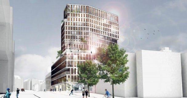 16 etager med restaurant og skybar på toppen