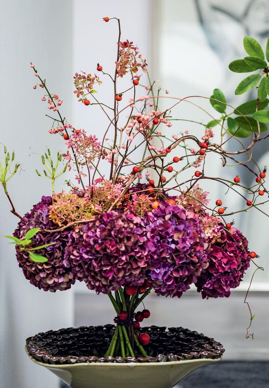 Smuk fritstående hortensiabuket