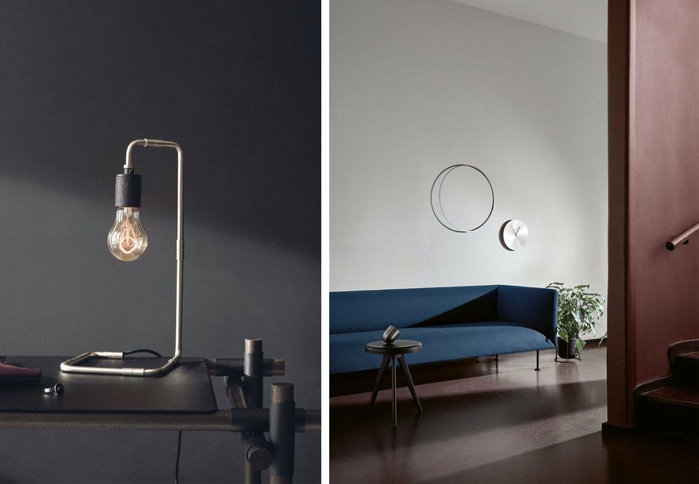 Søren Rose Studios læselampe og sofa af Iskos-berlin - begge fra det danske designbrand Menu.