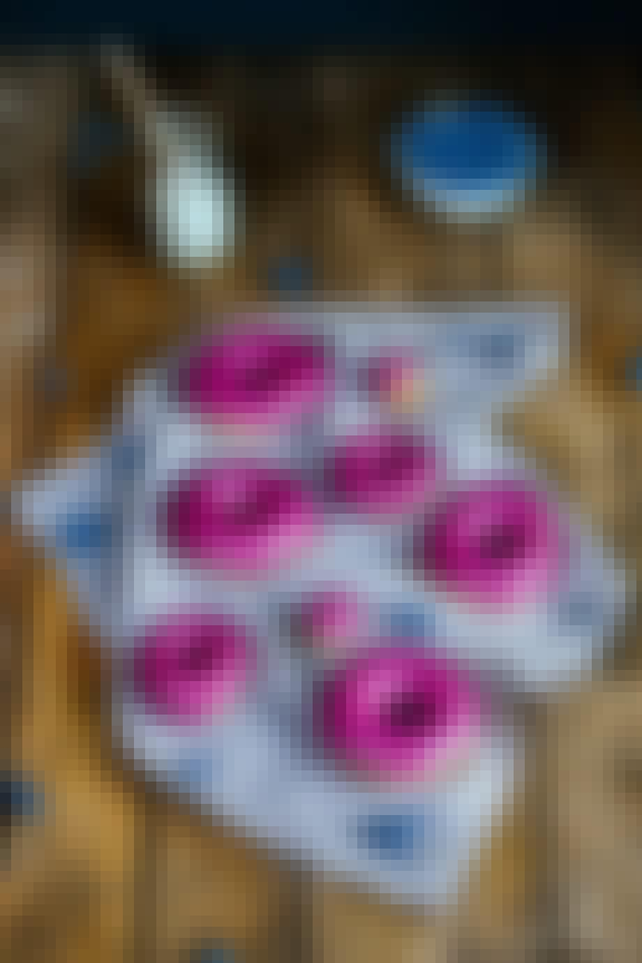 Donuts med blåbær-glaze