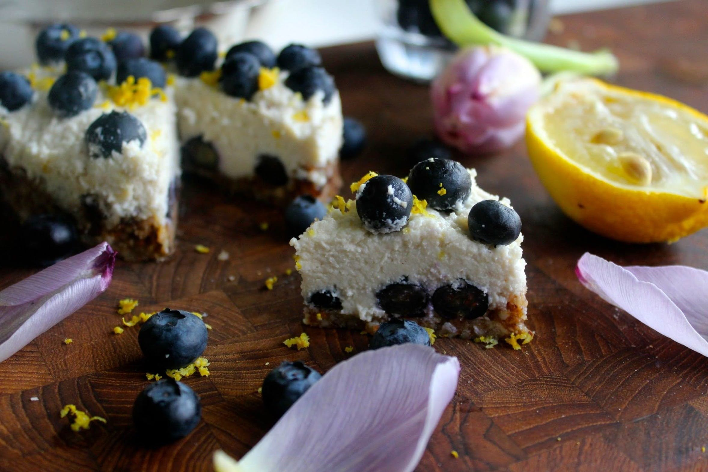 Raw cheesecake med blåbær