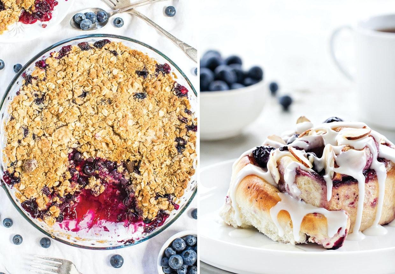 Pandekager, vafler, muffins, kager og is med blåbær