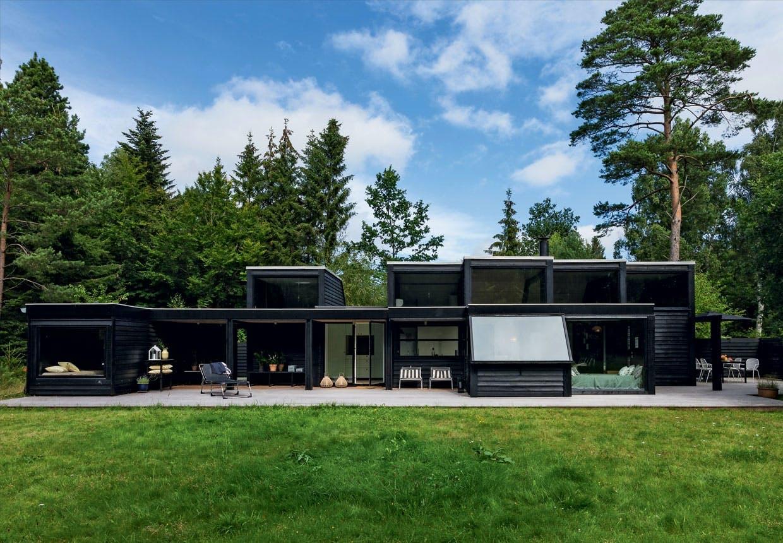 Sommerhus: Sort kubehus midt i skoven
