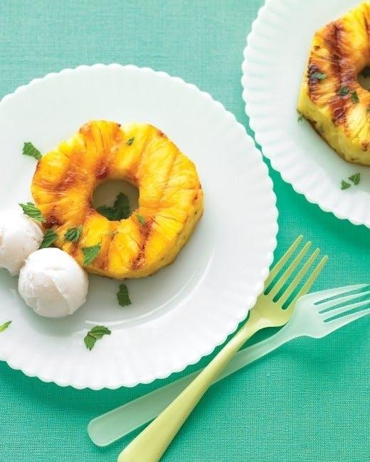 Grillet ananas med kokossorbet
