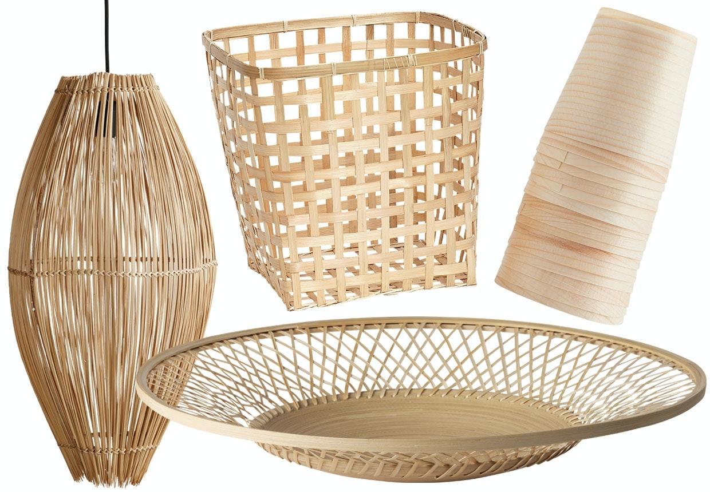 Kurve, bakker, hynder, kapper i Naturmaterialer som træ, bambus, jute og læder