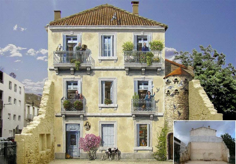 Murmaleri af A-fresco og street artisten Patrick Commecy i mindre by i Frankrig.