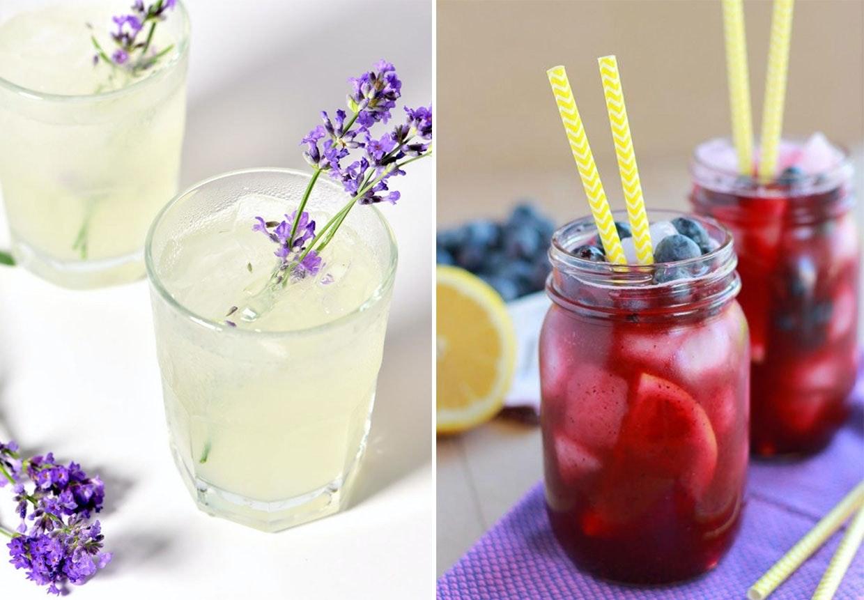 Limonade drinks med friske bær og blomster.