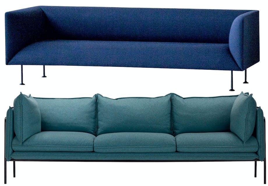 Sofaer i blå og grønne nuancer