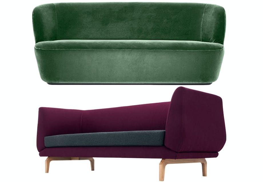 Stay-sofa fra Gubi i grøn velour