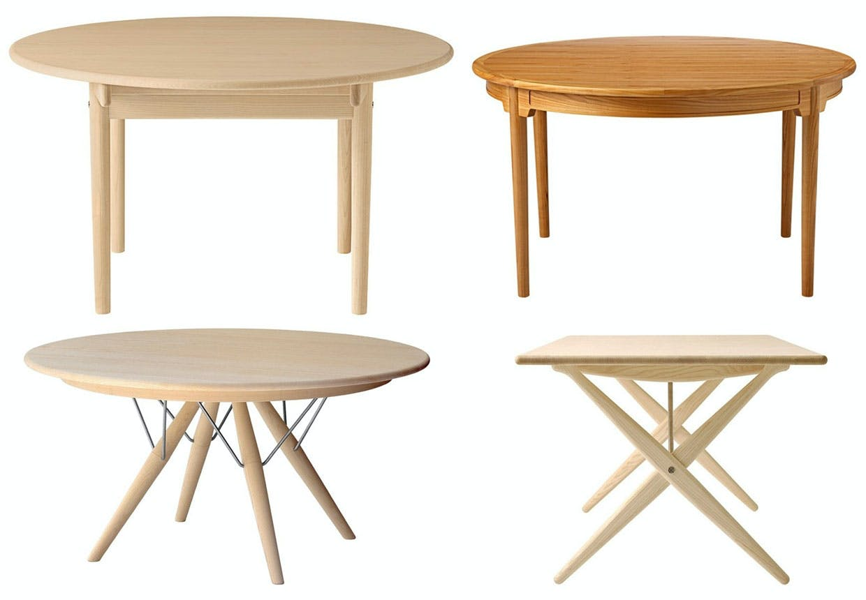 4 borde af Wegner - spiseborde og klapbord