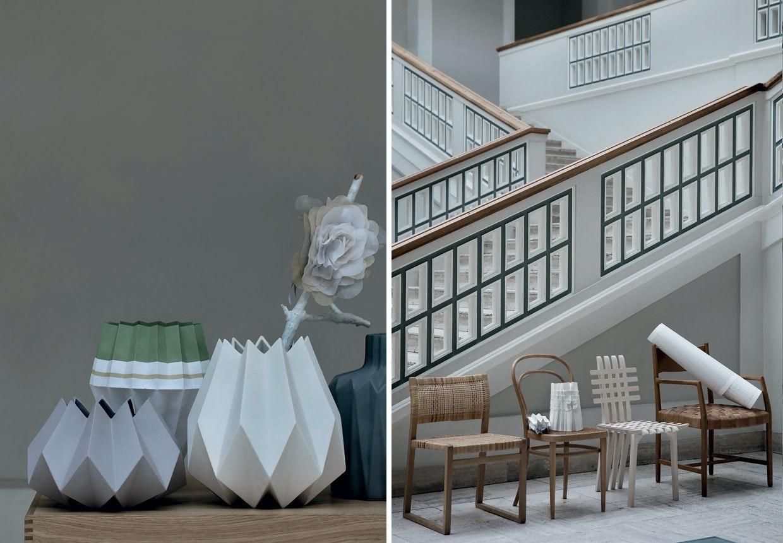 Flettede og foldede møbler, vaser og lamper.