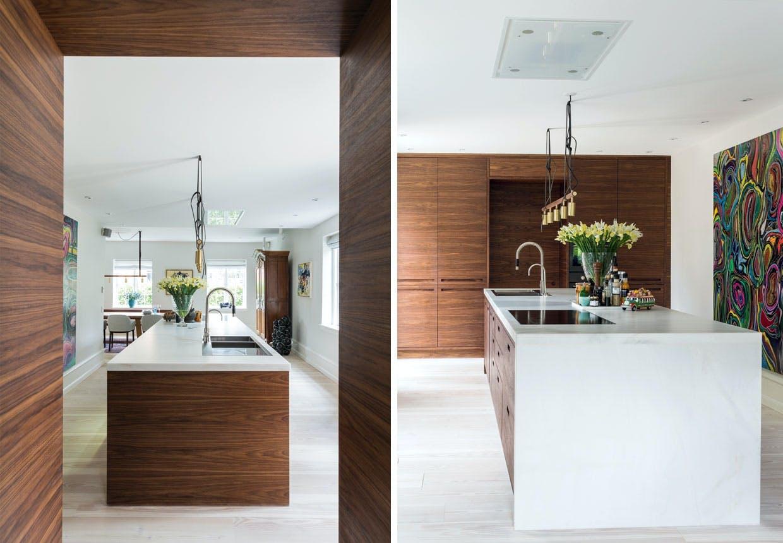 Vellykket køkken fra Kustomhouse i valnøddetræ og marmor