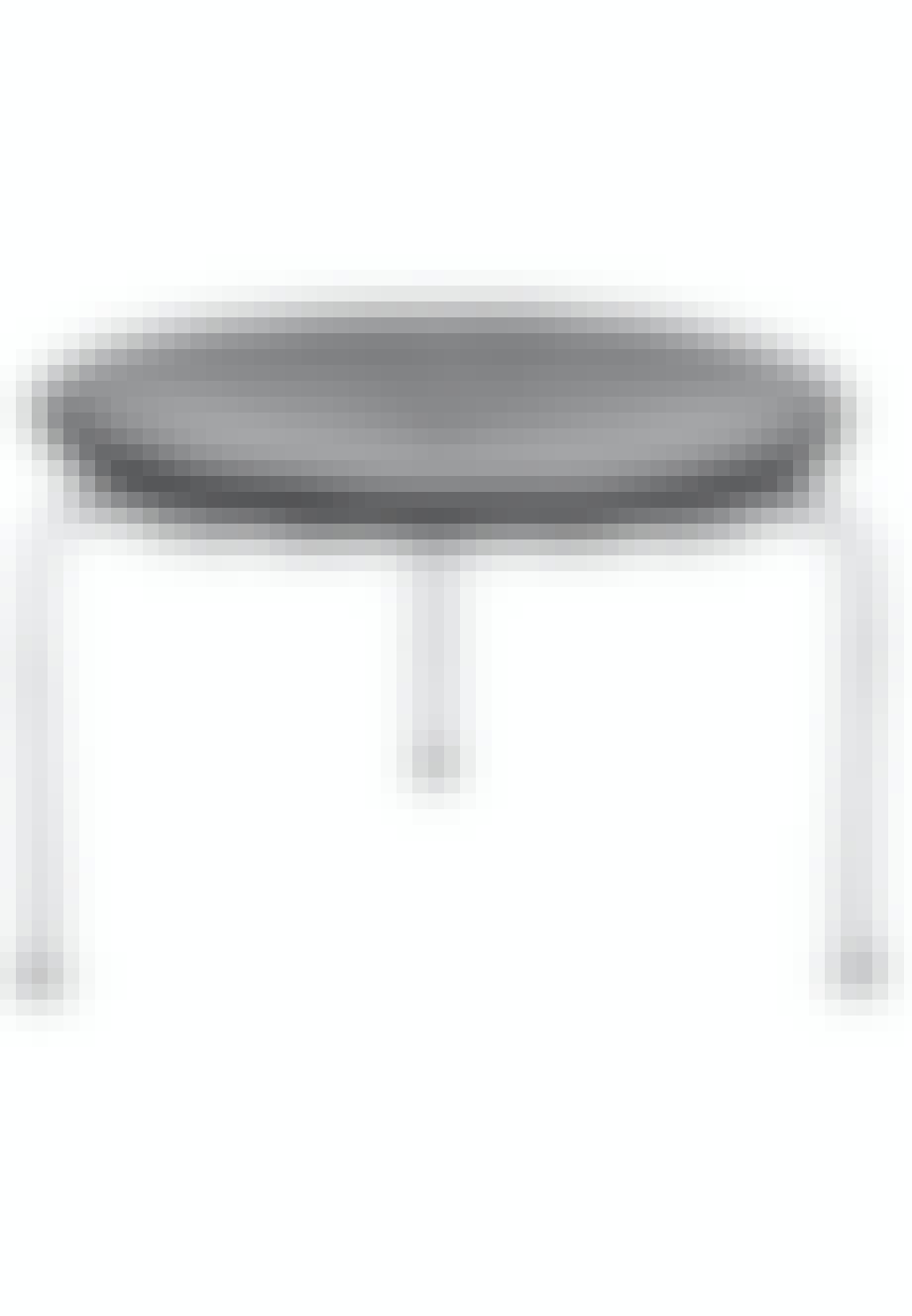 PK33-taburet i stål og sort læder