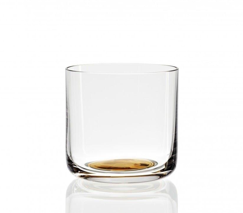 Mundblæst vandglas fra Hay med guldfarvet bund.