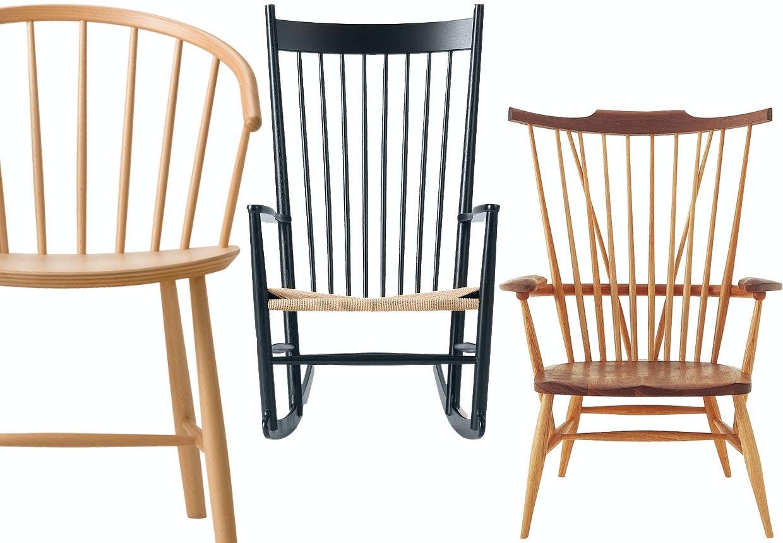 Pindestole som lænestole, gyngestol og spisebordsstole.