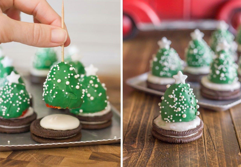 Chokolade-juletræer med jordbær og Oreos