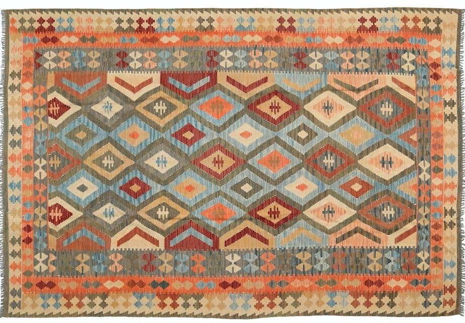 Håndvævet kelim-tæppe i uld