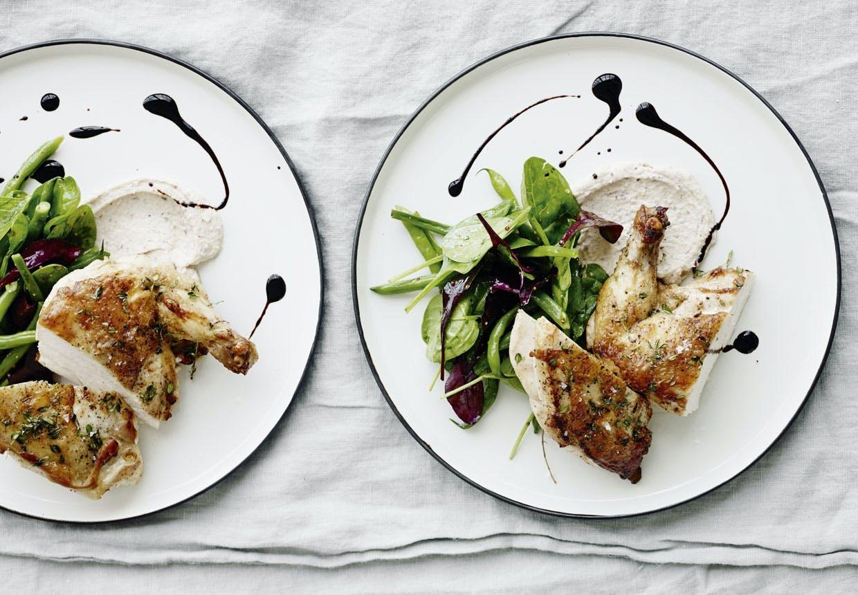 Unghanebryst med bønnesalat og glace