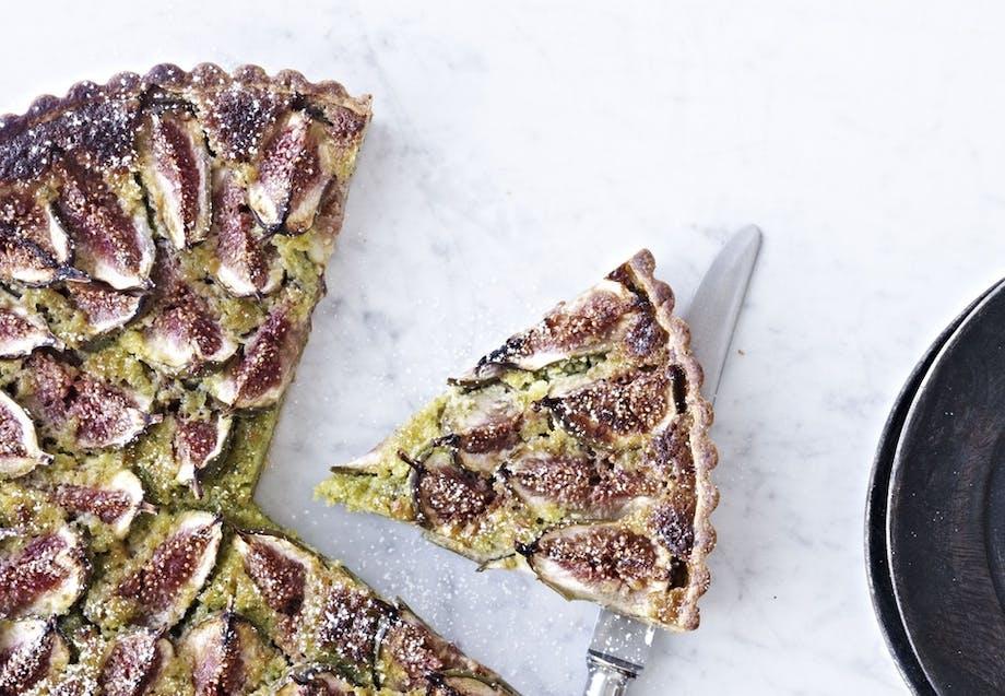 Figentærte med pistaciecreme