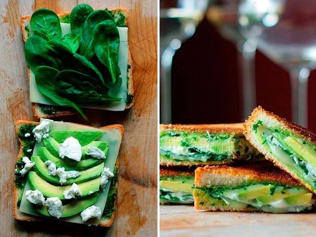 Grillet sandwich med avocado, pesto og ost