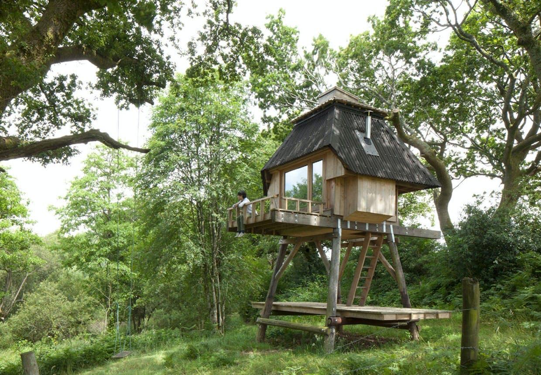 Hytte på stylter i skoven