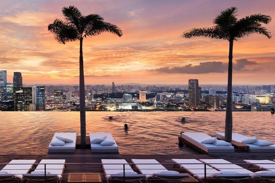 Smuk storbyudsigt i Singapore