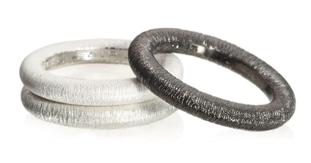 Ringe fremstillet af sølv
