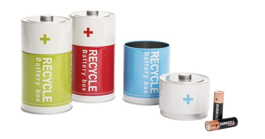 Boks til brugte batterier
