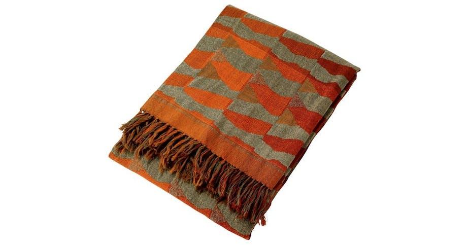 Plaid i vævet uld og silke