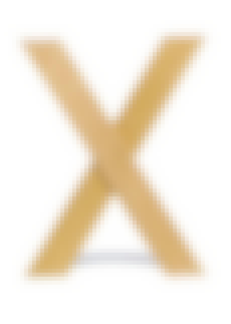 Bogstøtte formet som X