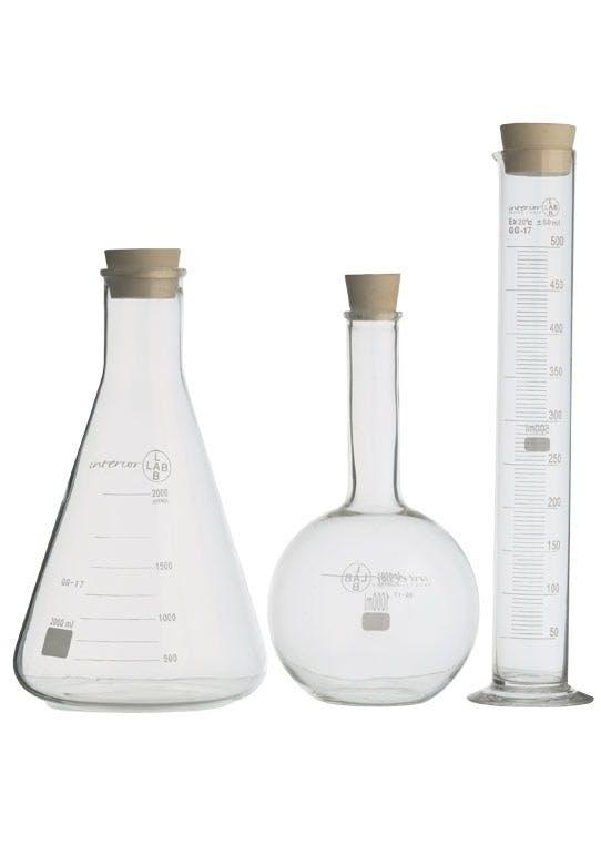 Måleflasker med kemi-look