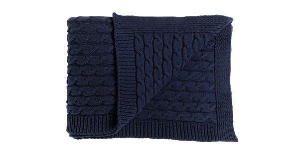 Marineblå, strikket plaid