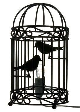 Bordlampe som fuglebur