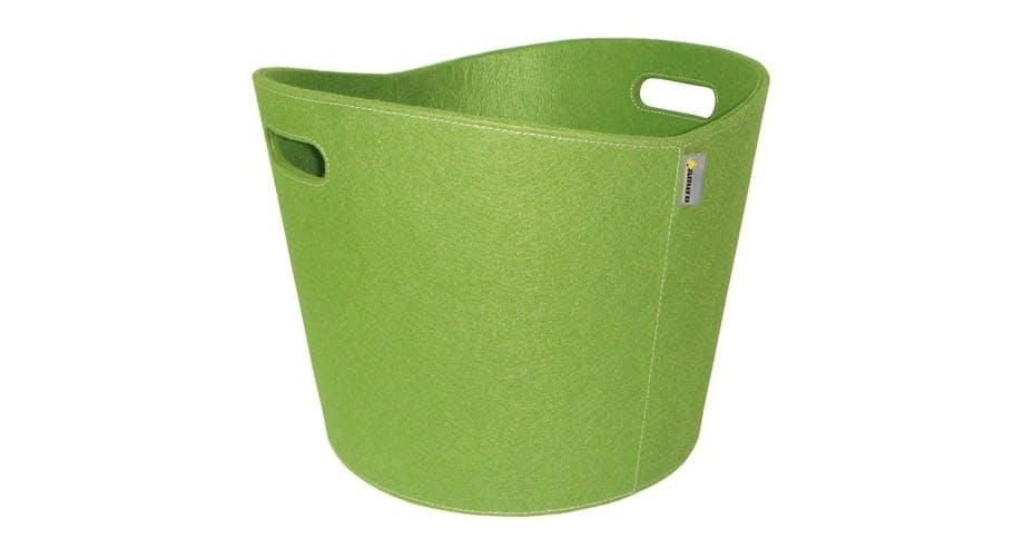 Brændekurv i grøn filt