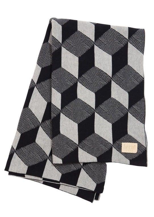 Jacquard-strikket plaid