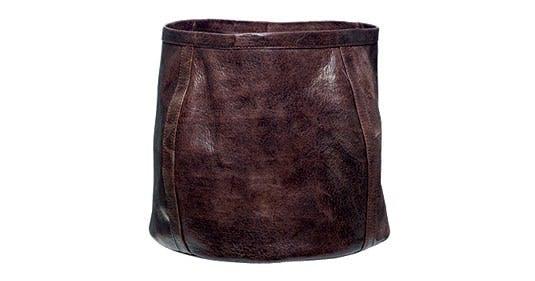 Håndlavet kurv i læder