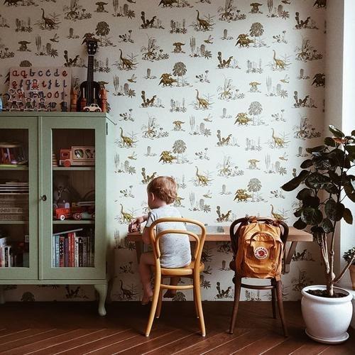 Tapet dino børneværelset