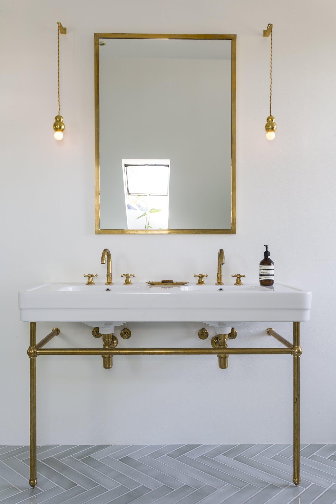 Håndvask messing lamper spejl