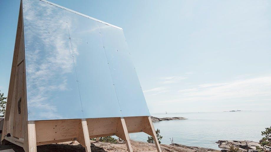 a-formet hus spejl væg bæredygtig