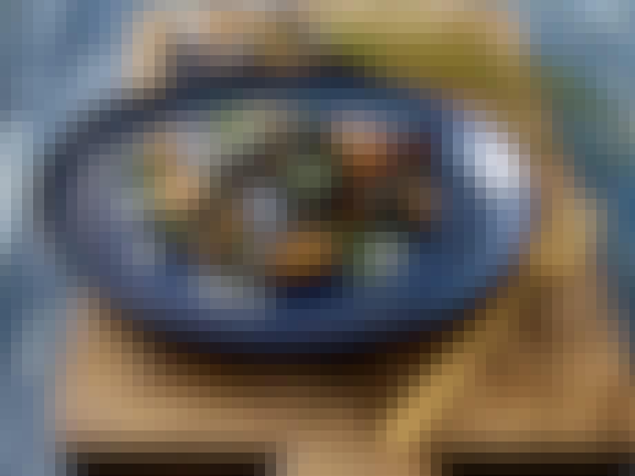 Stel blå tallerken keramik