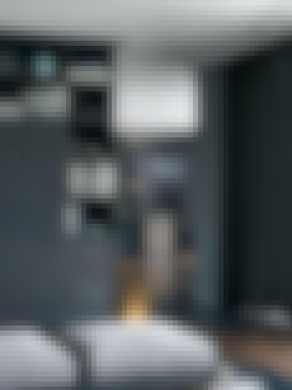 stue køkken sofa grå sort