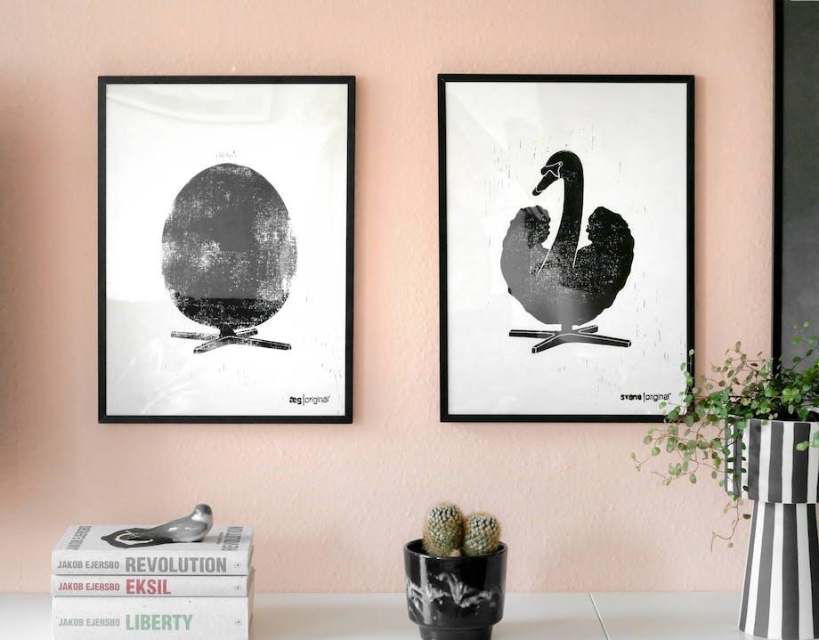 brainchild original ægget svanen linoleumstryk