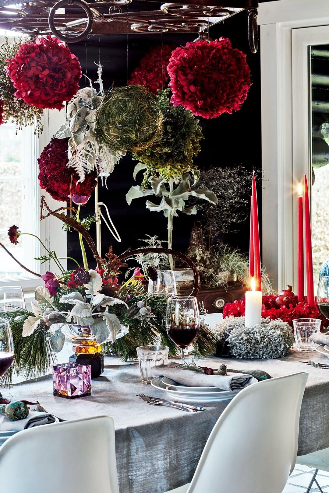 jul juledekoration julebord opdækning pynt blomster