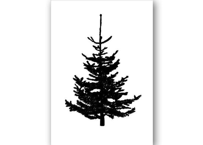 Julekort med juletræ fra Kristina Dam Studio