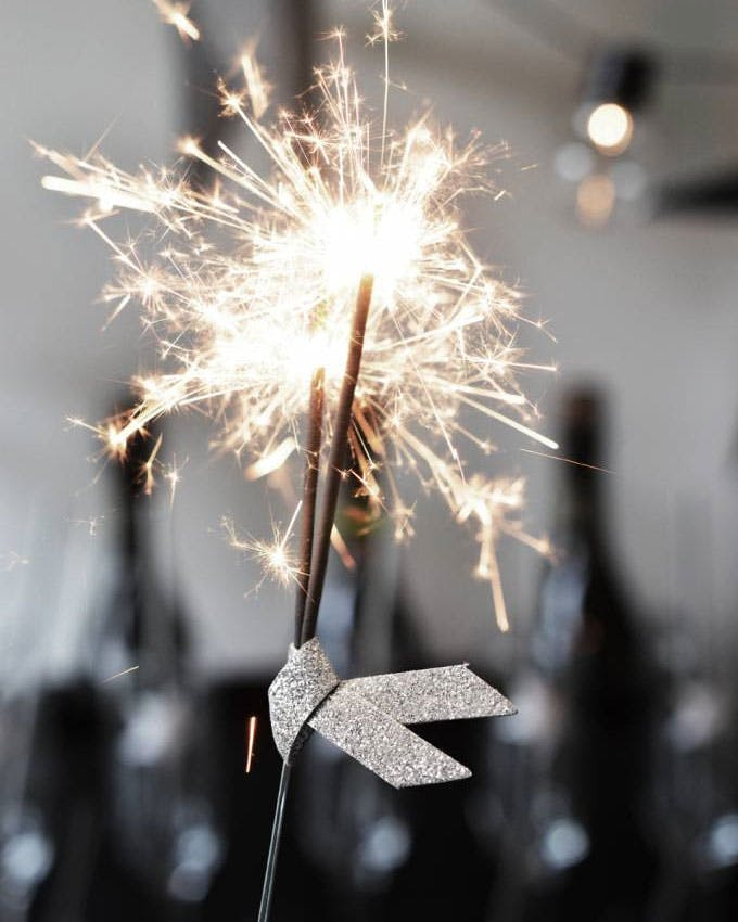 sølv glitter kageflag stjernekaster nytår pynt